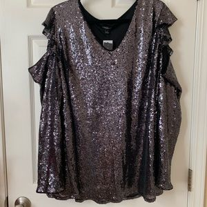 Lane Bryant women's plus size V-neck sequins top